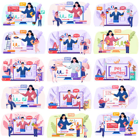Online education e-learning science concept, scenes set with students which study remotely. Different people men and women watching video tutorials on laptops or phones, modern knowledge technologies