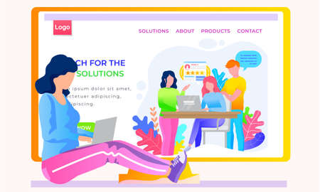 Internet shop layout. Store landing page template. Discussion via the Internet. App for finding solutions in difficult situations. Girl is working on the laptop. Colleagues support each other