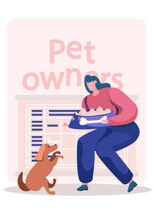 Happy woman character feeding the dog. The owner has fun with her pet. Timetable with symbols of bones. A girl in a half-squat holds a bowl of food in her hands. Training a puppy in an apartment 向量圖像