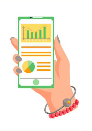 Flip chart with dynamics of bar chart changes, graph and diagram with orange captions. Smartphone for processing and analytics. App for the presentation of a marketing project and data calculations
