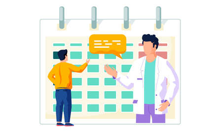 A man makes an appointment with a doctor online. Patient and physician near the work schedule sign up for a meeting, register for an appointment flat vector. Hospital calendar, doctor s work timetable