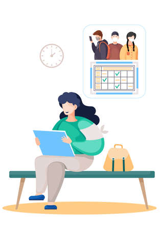 Girl sitting with laptop, reading news from computer about COVID-19 virus, cartoon vector. A woman gets acquainted with the epidemiological situation, reads about the symptoms of the disease