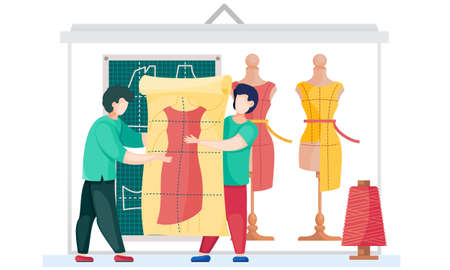 Sewing with designer or seamstress working with red dress pattern. Unfinished dresses model at mannequin on the background. Men are holding the pattern of future clothes. Professional tailoring studio