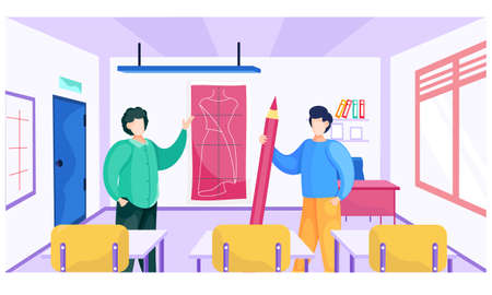 Fashion designers are standing near the sketch with dress in the interior of the classroom and discussing about model. Seamstressers are comparing tailor pattern ang finished dress vector illustration