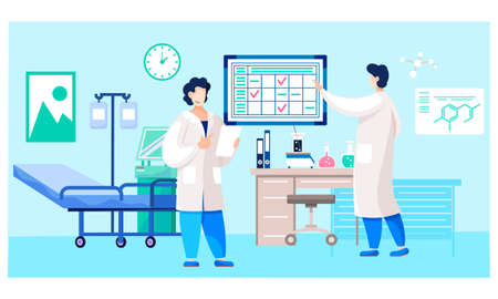 Male doctors with medical report. University students are practicing in hospital ward. Guys communicate and study in the medical office. Schedule with notes on the background. Medicine and healthcare