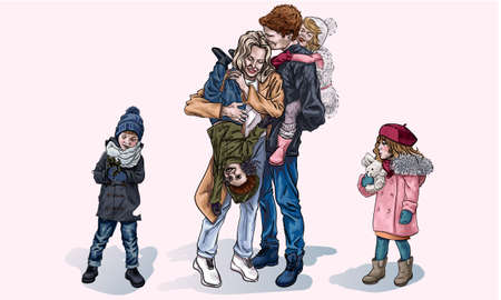 Parents and children for a walk in the winter, cartoon style. Mom and Dad laugh while the kids sit on their backs. Relatives have fun together. Happy family on the street in winter. Perfect family 矢量图像