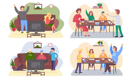 A set of illustrations on the theme of playing with people. Children with their parents play a board game. Joint holidays at home. Acquaintances spending evening time together. Pastime with family