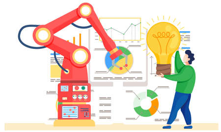 Smart industry new business idea. Developer worker controlling robotic arm, modernized machine. Educational robotics and artificial intelligence studying. Improved production performance flat vector Stock Illustratie