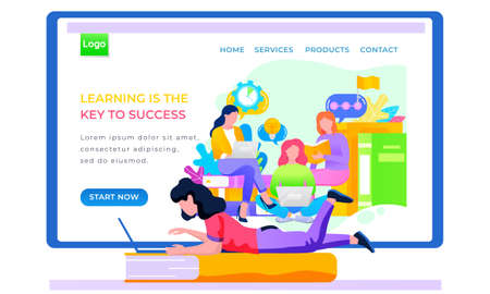 Internet shop layout. Store landing page template. Studying via the Internet. Application for lerning online. Girls training on the Internet. Educational process on the screen. Woman lies with laptop