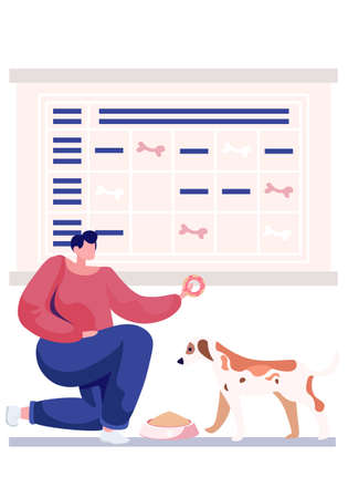 Feeding the pet on a timetable. Little cute dog character wants to eat. Symbols of bones in the schedule. Person is giving a dog a donut. The girl is playing with the puppy and entertaining it 向量圖像