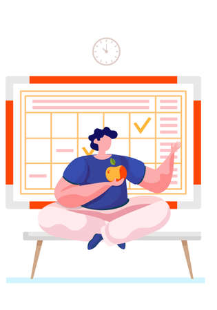 A man is sitting on the couch eating the apple at home. Schedule with notes on the background. The guy is bored alone sitting in his apartment. Boredom during rest. Eating fresh fruit and vegetables