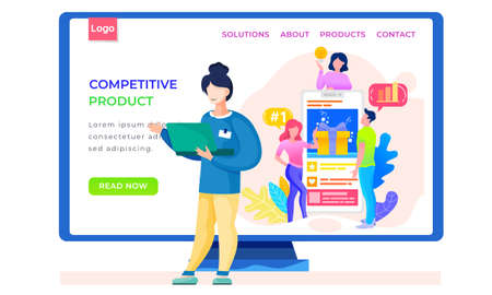 Retro library, reading application Internet shop website layout. Books online store landing page template. Pastime for teenagers, entertainment. Leisure activity. Girl stands with laptop and works