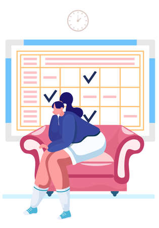 The girl is sitting alone in the apartment on an armchair and is bored. Boredom during rest. Schedule with check marks on the background. Schoolgirl resting at home on the couch. Timetable with notes