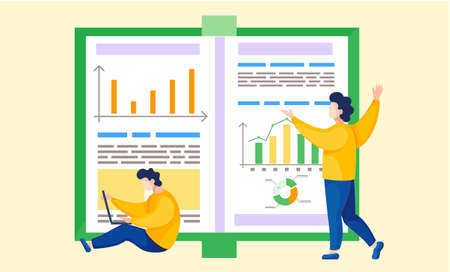 Businesspeople are communicating in office. Business characters colleagues near report with graphs and charts are discussing a new project, doing effective time management, generating planned events