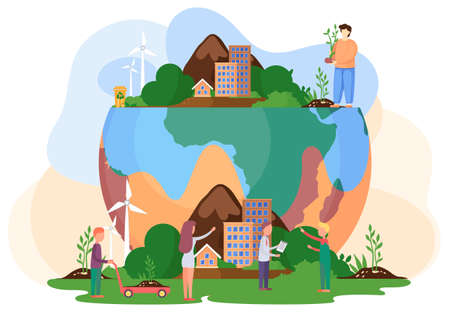 People prepare for the day of the Earth. Good side of human influence on the planet. Man standing on the planet plants the tree. Society tries to save the planet Earth vector flat illustration