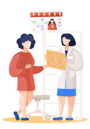 Patient came to medical clinic for consultation with doctor. Medical treatment and healthcare poster, young girl talking to a doctor discussing a lung scan. Clinic appointment meeting with medic