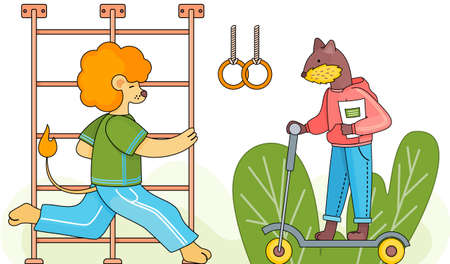 Funny cartoon animal student. A lion schoolboy in a sports uniform is runing on a physical education lesson in the school gym near the gymnastic stairs. Beaver with notebook is riding a scooter
