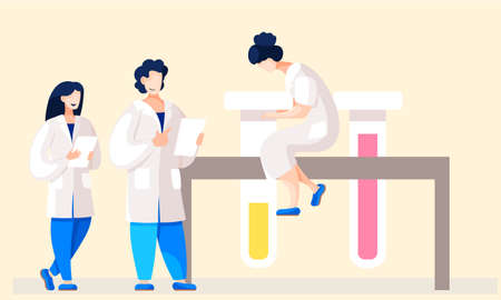 Medicine teamwork concept with doctors in consulting process. Practitioner doctors young women and therapist in hospital medical office. Consultation and diagnosis, doctors discuss the patient s card
