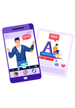 Learning a foreign language via the Internet. Screen with image of an English teacher. Messenger for communication with native speakers. Man on smartphone says hello. Foreigner on a white background Stock fotó - 159107232