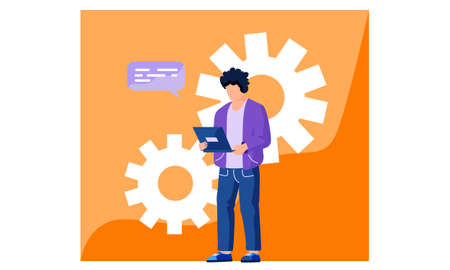 Office employee is working on a computer and sending an email. The man in a suit is using a laptop for communication and work. Worker is standind on orange with large gears. Curly young man do service