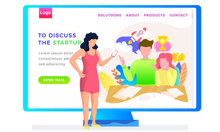 To discuss the startup landing page template with a woman standing with mobile phone. A group of people listening to the speaker. Educational Internet resource for novice businessmen webpage Ilustração
