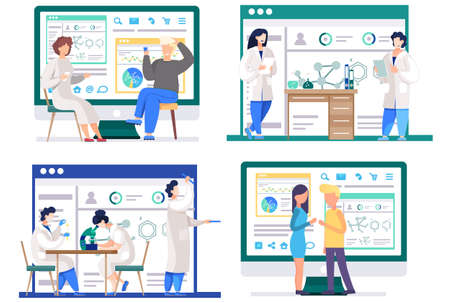 Set of illustrations on the theme of games and chemical experiments. Colleagues communicate at work. People play cards, board games and rock-paper-scissors. Chemists do scientific research in the lab