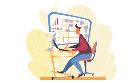 A man working at a laptop and looking at a board with stickers and assignments over his desk. The background depicts yellow leaves and bushes. Working day of a young man in a business office