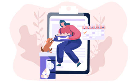 Young woman squatted down with bowl, feeding her dog. Funny girl training her domestic animal. Happy female cartoon character together with her pet. Owner with her brown doggy, caring for a puppy 向量圖像