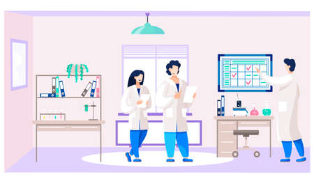 Doctors with medical report. University students are practicing in laboratory. People communicate and study in the hospital ward. Schedule with notes on the background. Medicine and healthcare concept