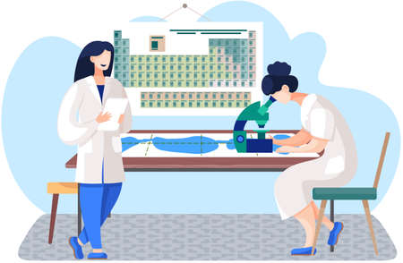 Scientific research in the laboratory. Scientists are conducting an experiments. Female scientist is looking through a microscope lens. Male chemist with a sheet of paper in his hands. Periodic table