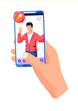 A man holds in his hand a mobile phone with a picture of a man thinking about a pill. Photo processing for a social network. Apply a filter to the image. A person is editing the photo on the screen