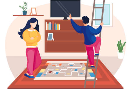 Family husband and wife talking standing together in the room. Home cozy livingroom with couch and televisor. Man climbing the stairs and woman discuss their issues or about movie or TV show
