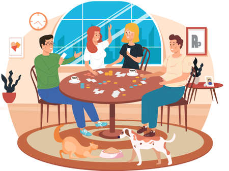 People playing a board game at home cartoon illustration cozy living room atmosphere in the evening. Men and women friendly family or good friends spend time together with a logic game on the weekend