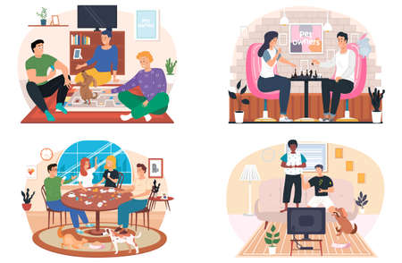 People playing a board game at home in living room with pets, cozy atmosphere in the evening. Men and women friendly family or good friends spend time together with a logic game on the weekend