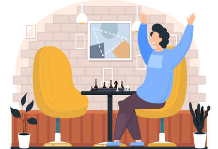 A man playing chess at home at a table cartoon vector illustration cozy living room atmosphere in the evening. Male character won and raised his hands happily with a logic game on the weekend 向量圖像
