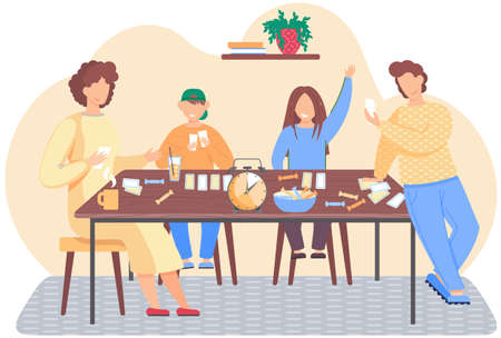 Family is playing a board game. Living room interior at home. Parents and children spending evening time together. Group of people playing cards and eating candy. Evening pastime with relatives 矢量图像