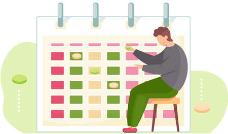 The guy is holding green chips in his hands. A man is playing a game. Timetable or a calendar on the background. Office work management. Male character is working with notes on the poster Stock Illustratie
