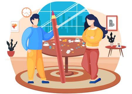 Couple playing board game at home cartoon illustration cozy living room atmosphere in the evening. Man and woman friendly family or good friends spend time together with a logic game on the weekend