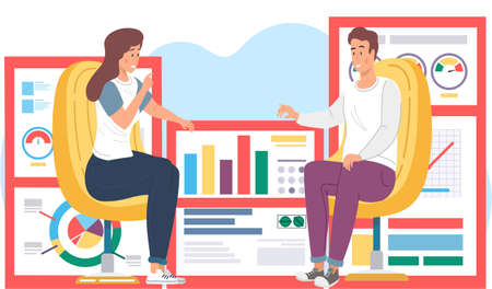 Workers communicate, solve business development issues, collaboration and discussion graphical business report with charts and graphs. Teamwork concept. Vector illustration joint work in the company