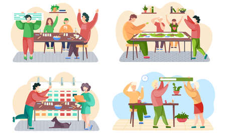 Set of illustrations about of playing cards and board games. Children and parents are spending time together. The couple is carrying a green book. Girl is standing with a laptop in her hands and works Stock Illustratie