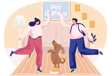 Pet owners young women spend time with their dog, take care of domestic animal cheerful puppy. Girl have fun and active time, play with funny pooch, feeds the dog with a bone, is engaged in training