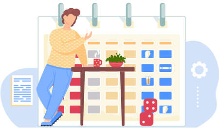 Serious guy standing with cards in his hands. Man thinks over the next move. Office work management. Timetable or a calendar on the background. Male character drinking tea. Cubes on the floor