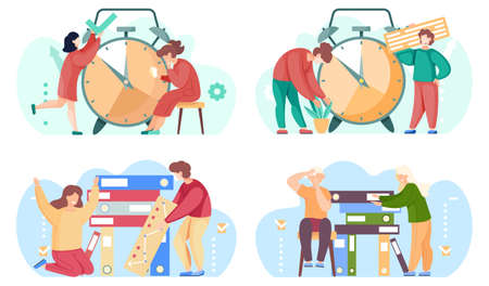 Set of illustrations on the topic of helping each other and working together. Big alarm clock on the background. People in pairs do tasks. Girls taking care of plants and holding a check mark