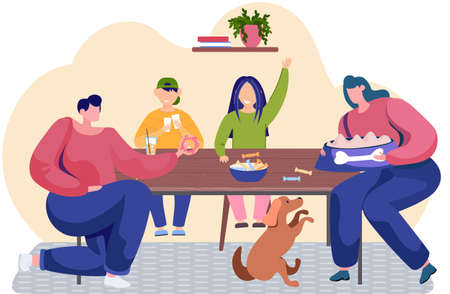 Happy family or friends at home in the kitchen for dinner or breakfast, mothers, children and a dog in a cozy apartment are sitting at the table and feeding the puppy with food from a bowl