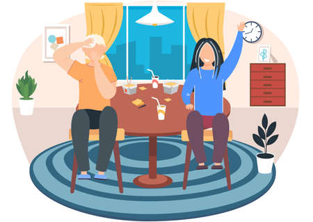 Kids eat together. Children eating dinner cafe restaurant happy child breakfast lunch fast food dining friends cartoon healthy meal vector concept. Boy and girl sitting at a table in livingroom