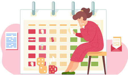 Pensive girl sits with cards in her hands. Woman thinks over the next move. Office work management. Timetable or calendar on the background. Cubes and a cup on the floor. Envelope with letter on wall
