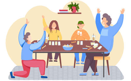 Family is playing a board game. Guy happily raises his hands. Parents and children spending evening time together. Group of people playing cards and eating candy. Evening pastime with relatives