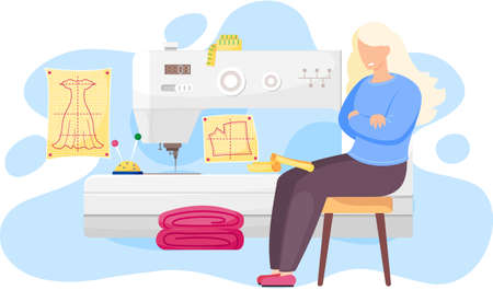 Fashion designer is making a model. Dressmaker is sitting near the sewing machine and looking at clothes pattern. Sewing workshop, atelier, custom clothing. Illustration of fashion production concept Stock Illustratie