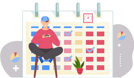 Guy is sitting on the chair with a gamepad in his hands. Office work management. Man is playing with joystick on console. Timetable or a calendar on the background. Boy is playing a video games Stock Illustratie