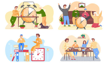 Set of illustrations on the theme of family pastime. Group of people playing a board game. Characters interact with a large alarm clock. Guys sit with gamepads in their hands and play on the console